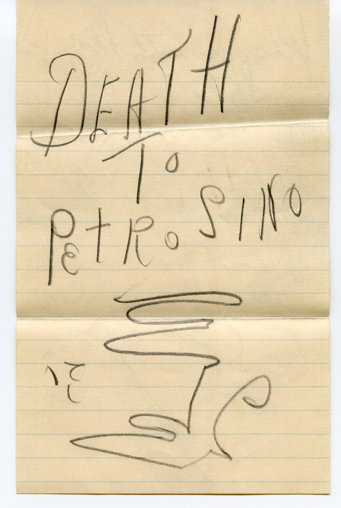 The first page of a death threat sent to Joseph Petrosino.  From The Black Hand, by Stephan Talty.