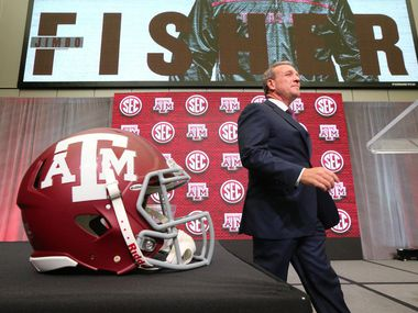 Texas A&M head coach Jimbo Fisher arrives for his SEC Media Days press conference at the College Football Hall of Fame on Monday, July 16, 2018 in Atlanta, Ga. (Curtis Compton/Atlanta Journal-Constitution/TNS)