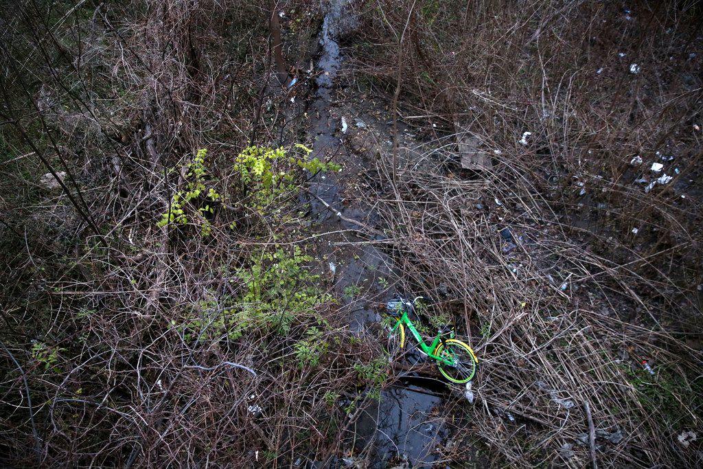 A LimeBike rental bike is left in a marshy area under a bridge near White Rock Lake in Dallas on Dec. 27, 2017.