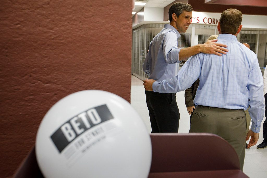 U.S. Rep. Beto O'Rourke greeted Adam Bell, a Democratic candidate for Congressional District 3, after O'Rourke addressed a town hall at Plano High School in November 2017.