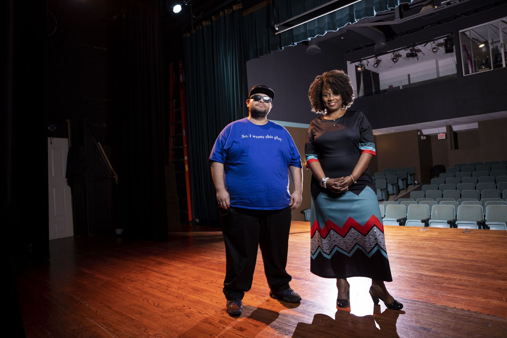 Teresa Coleman Wash, Bishop Arts Theatre Center's executive artistic director and founder, with playwright-in-residence Franky Gonzalez, said the federal grant helped her pay off construction debt.