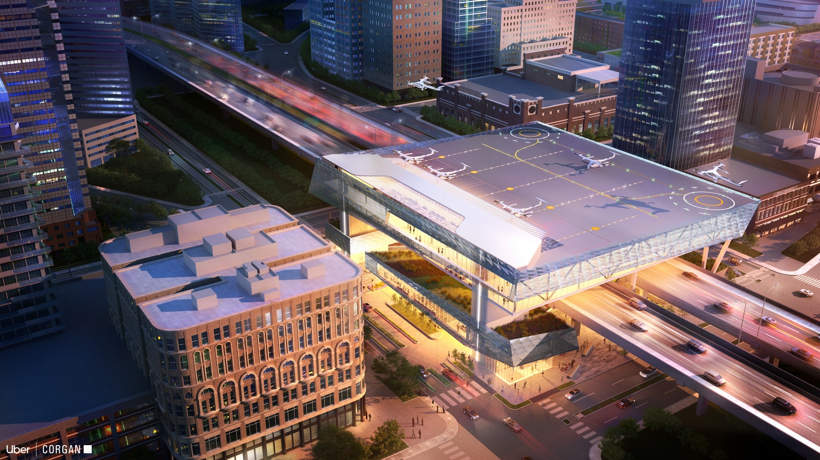 Its downtown Dallas concept is shown over a highway, tying future travel into current transportation routes.