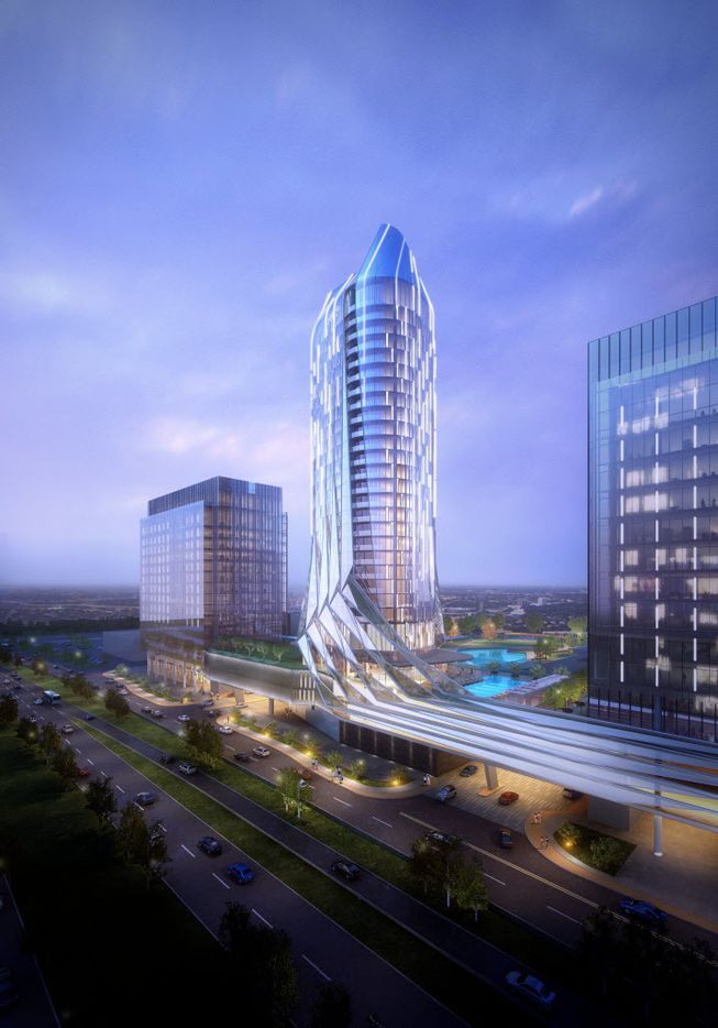 Developers of the 175-acre Wade Park project in Frisco say they want to build a 35-story hotel and residential tower in the project on the Dallas North Tollway.