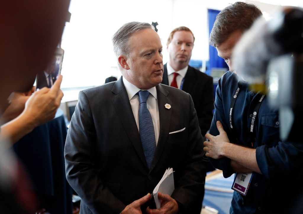 White House press secretary Sean Spicer does an interview at the Conservative Political Action Conference (CPAC), Friday, Feb. 24, 2017, in Oxon Hill, Md. (AP Photo/Alex Brandon)