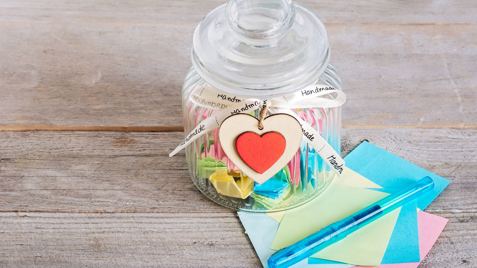 Practice the art of gratitude and boost your well-being with a happiness jar. The concept is simple: At the end of the day, every day, grab a scrap of paper and jot down the day's happiest moment.