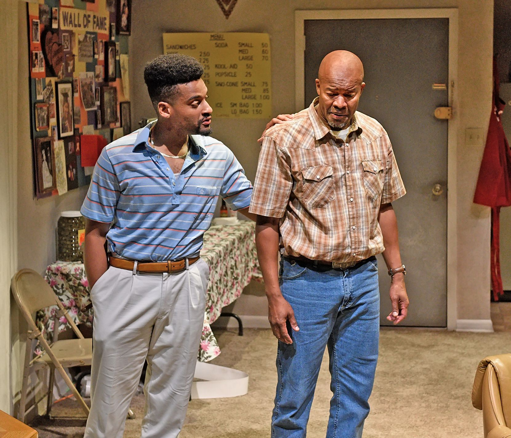Ace Anderson plays the drug-dealing Kingston and Leon Addison Brown is candy store owner Dubba-J in playwright Jonathan Norton's Penny Candy. Set in 1980s Pleasant Grove, where Norton grew up, the play is having its world premiere at Dallas Theater Center.