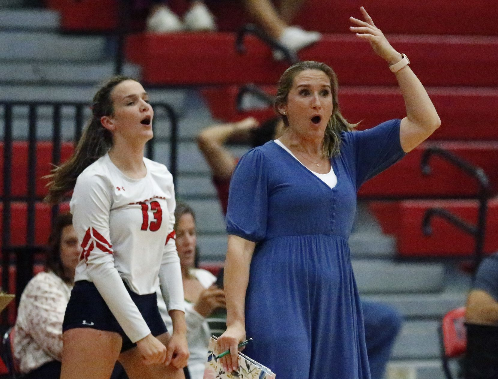 McKinney Boyd High School head coach J.J. Castillo reacts to a ball landing out of bounds during game three as McKinney Boyd High School hosted Flower Mound High School at McKinney Boyd High School on Tuesday evening, September 7, 2021. (Stewart F. House/Special Contributor)