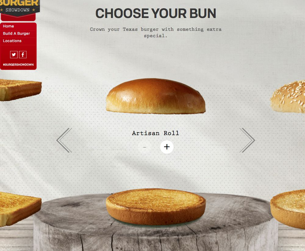 A screen grab of the McDonald's build-your-own burger promotion