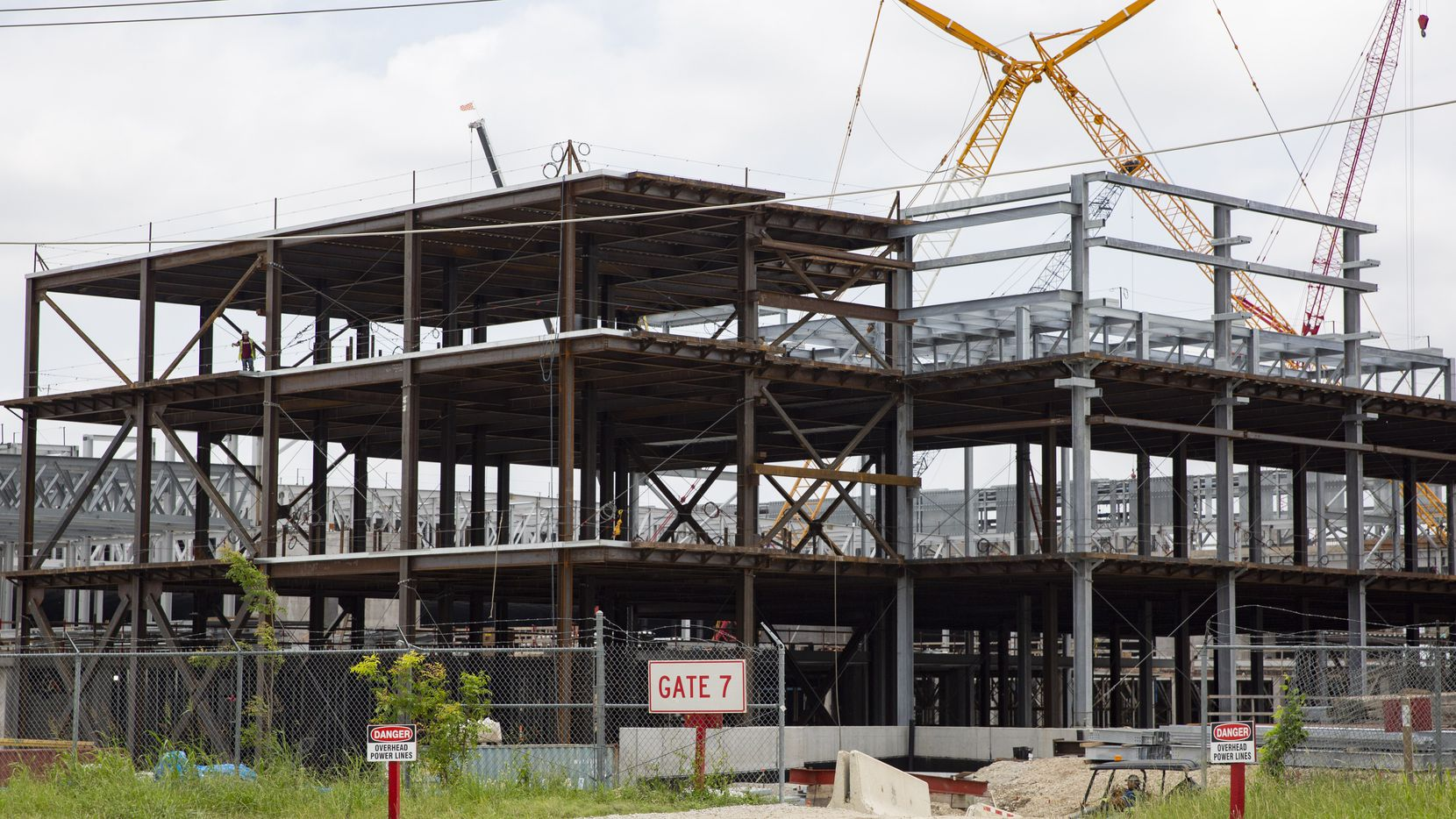 Construction on Texas Instruments' new chip-making plant in Richardson continued in June.