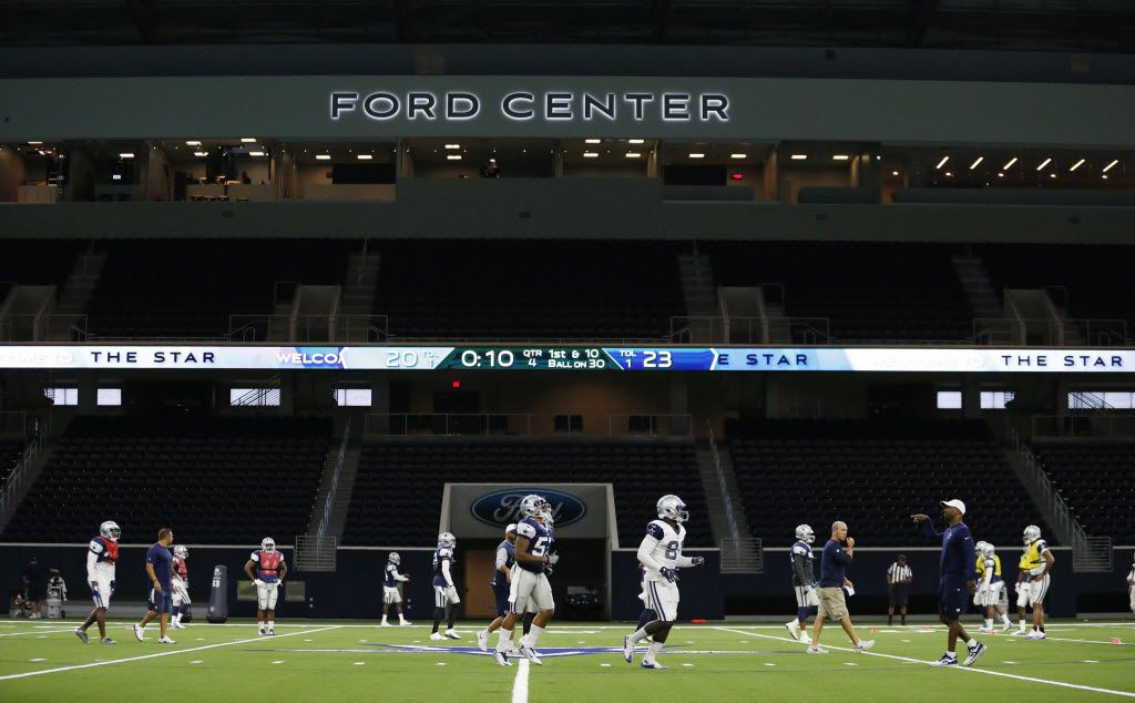 Dallas Cowboys run the field during practice inside the Ford Center, the multi-use center at the Dallas Cowboys new headquarters at The Star in Frisco on Sunday, August 21, 2016. The Star, is a joint project with the City of Frisco, and Frisco ISD. (Vernon Bryant/The Dallas Morning News)