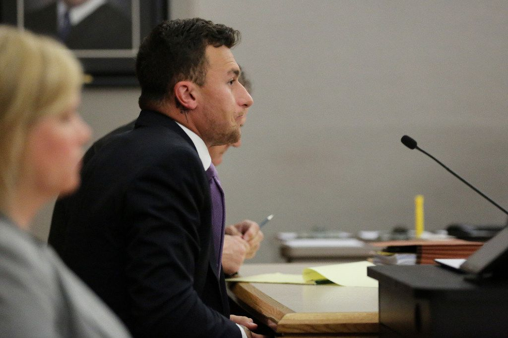 Former Texas A&M quarterback Johnny Manziel listens during a hearing with judge Roberto Canas in Dallas County criminal court 10 at the Frank Crowley Courts Building in Dallas February 28, 2017. Manziel is in a hearing following an agreement reached with the county regarding his misdemeanor domestic violence case. (Andy Jacobsohn/The Dallas Morning News via Pool)
