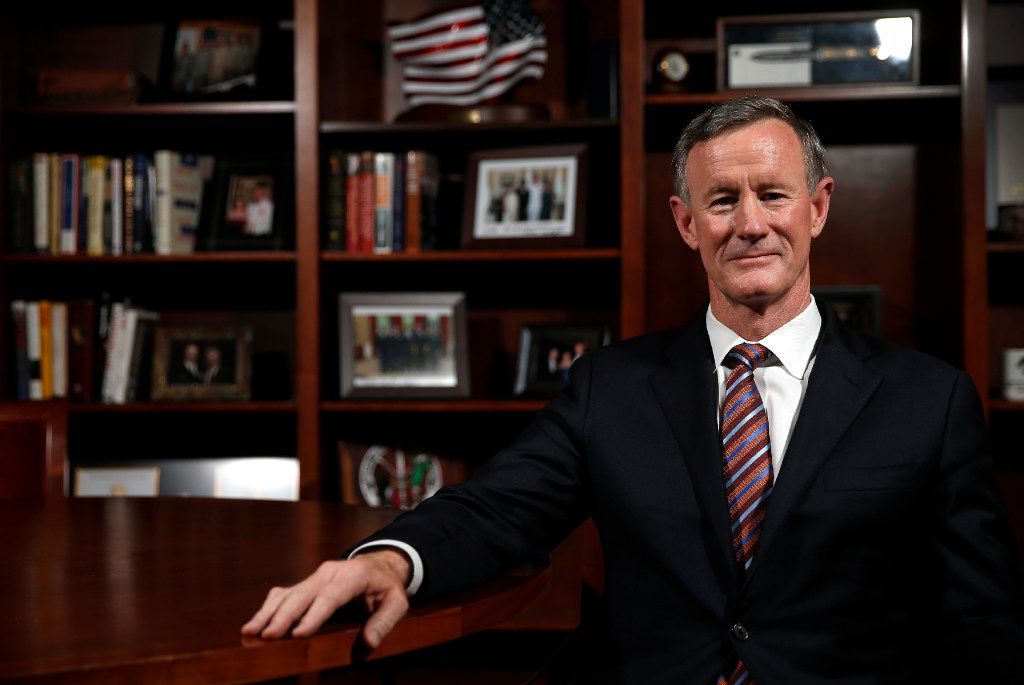 Former University of Texas System Chancellor William McRaven in at his UT office in Austin on April 17, 2017.