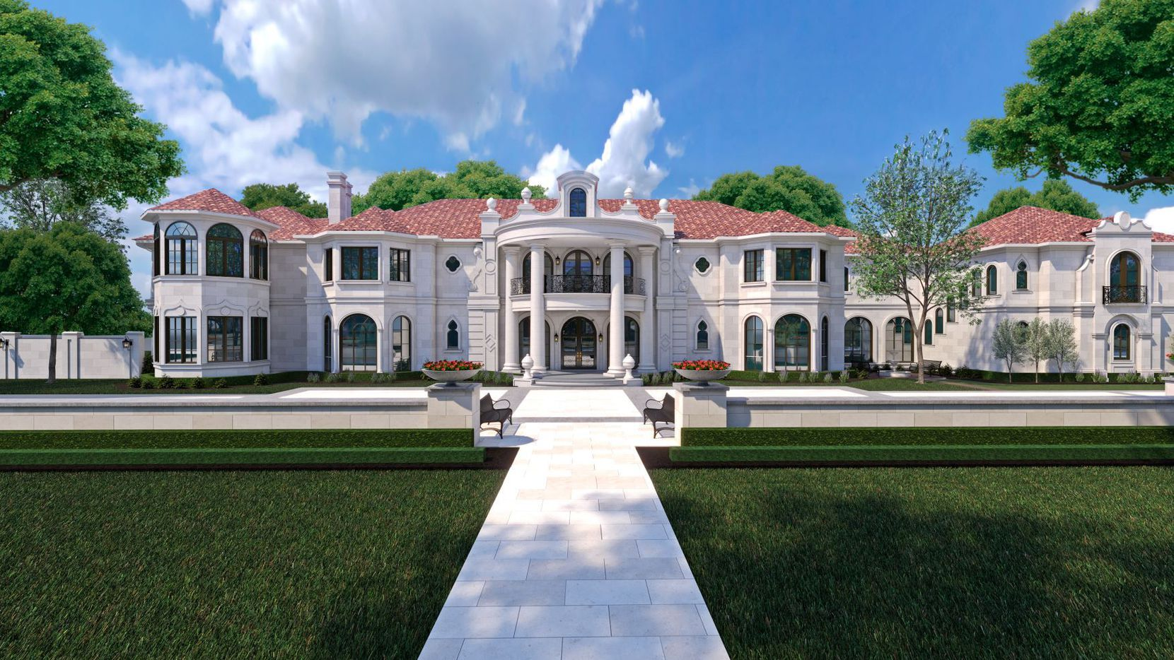 This rendering shows the plans for the home at 6915 Baltimore Drive in University Park. The home, which is currently under construction, is on the market for $37.5 million and is a custom design by architect Richard Drummond Davis.