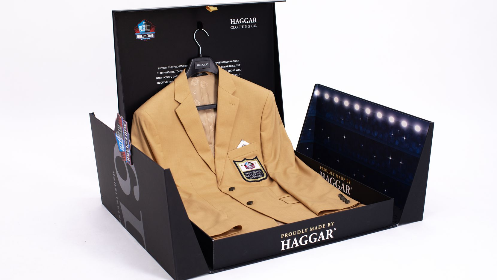 Because of the pandemic, Pro Football Hall of Famers in the Class of 2020, including Jimmy Johnson and Cliff Harris, were sent their Haggar gold blazers in a specially designed box.