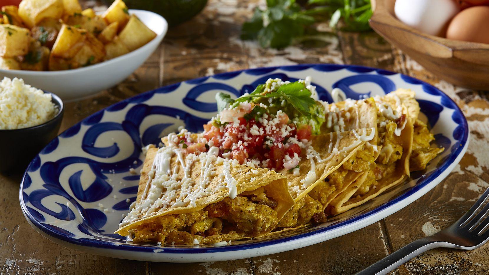 Unlike some Mexican restaurants in Dallas-Fort Worth, Mexican Sugar goes big on brunch. Here's the brunch quesadilla: scrambled eggs, bacon, cheese, guacamole, pico de gallo, Mexican crema and a jalapeno tortilla.