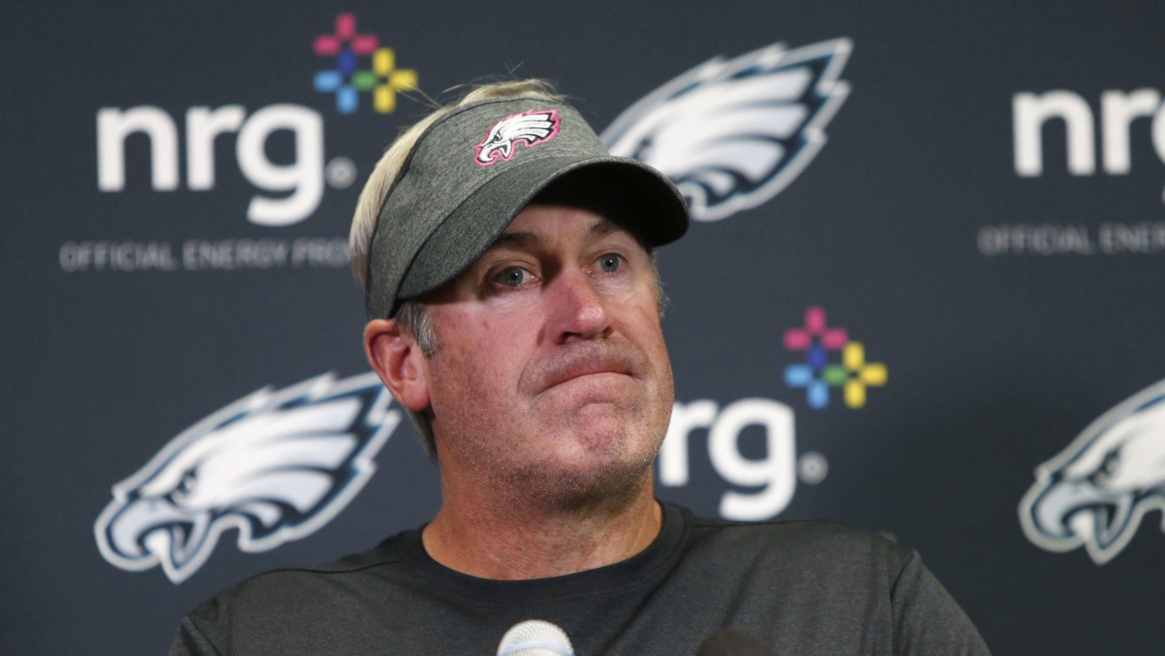 Philadelphia Eagles head coach Doug Pederson speaks during a news conference after an NFL football game against the Minnesota Vikings, Sunday, Oct. 13, 2019, in Minneapolis. The Vikings won 38-20. (AP Photo/Bruce Kluckhohn)