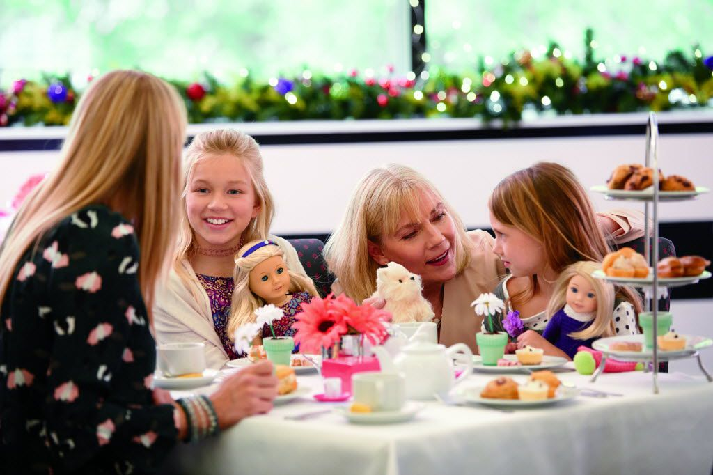 Girls dine with their dolls at American Girl Bistro at Galleria Dallas.
