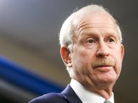 FILE - Stars general manager Jim Nill gives remarks during a news conference on Tuesday, Dec. 10, 2019, at American Airline Center in Dallas.