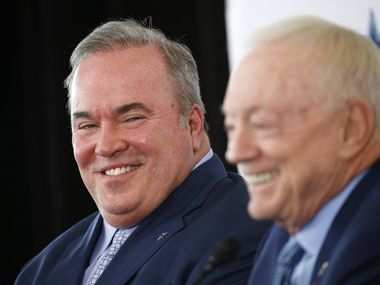 Dallas Cowboys new head coach Mike McCarthy (left) shares a laugh with Dallas Cowboys owner and general manager Jerry Jones during his press conference announcing him as the new head coach of the Dallas Cowboys in the Ford Center at The Star in Frisco, on Wednesday, January 8, 2020.