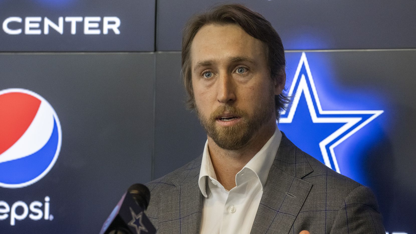 Dallas Cowboys linebacker Sean Lee speaks about his decision to retire to media members during a pre-draft news conference at The Star in Frisco, Texas, on Tuesday, April 27, 2021.