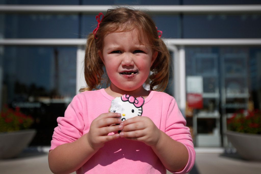 Three-year-old Avery Hulke, at least, happily sampled her new Hello Kitty cookie.