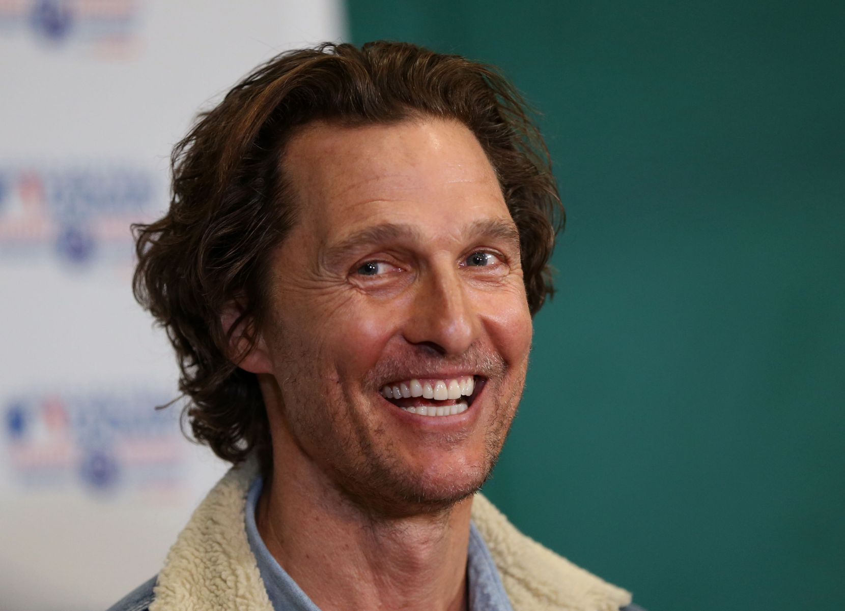 Matthew McConaughey speaks to the media during a Rangers Play Ball event for students from Sam Houston High School, Pinkston High School and Eastern Hills High School hosted by the Just Keep Livin Foundation, founded by McConaughey, and the Texas Rangers Baseball Foundation at the Texas Rangers Youth Academy at the Mercy Street Sports Complex in Dallas on Tuesday, March 5, 2019. (Rose Baca/Staff Photographer)