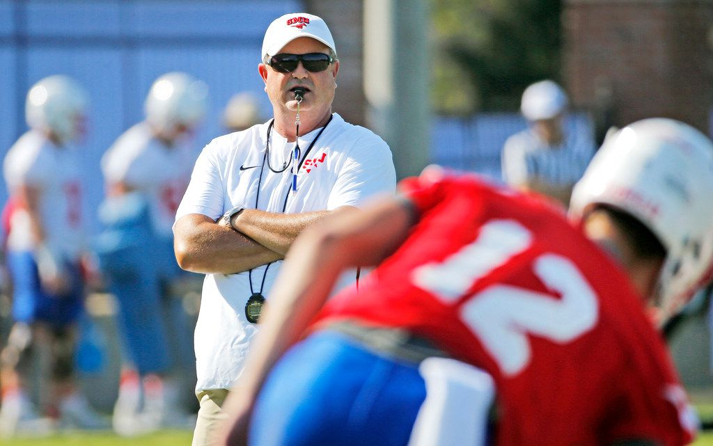 New SMU head coach Sonny Dykes is pictured during SMU football practice on campus in Dallas on Saturday, August 4, 2018. (Louis DeLuca/The Dallas Morning News)