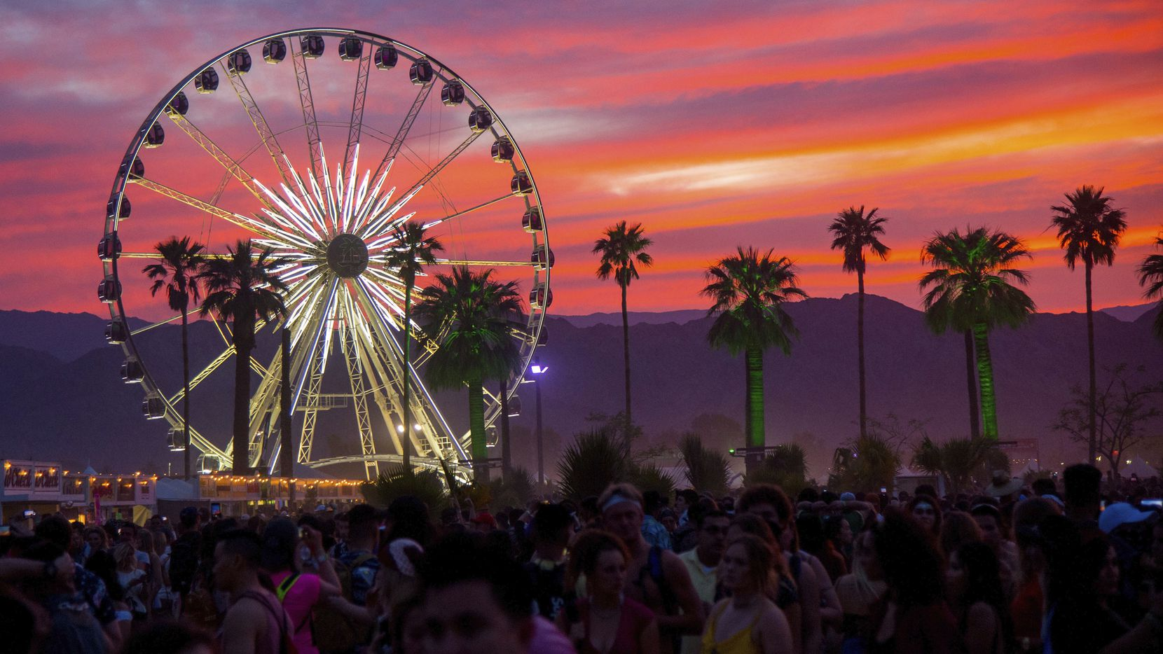 The sun set over the 2018 Coachella music and arts festival in Indio, Calif. The Coachella and Stagecoach festivals have been canceled this year because of the COVID-19 pandemic.