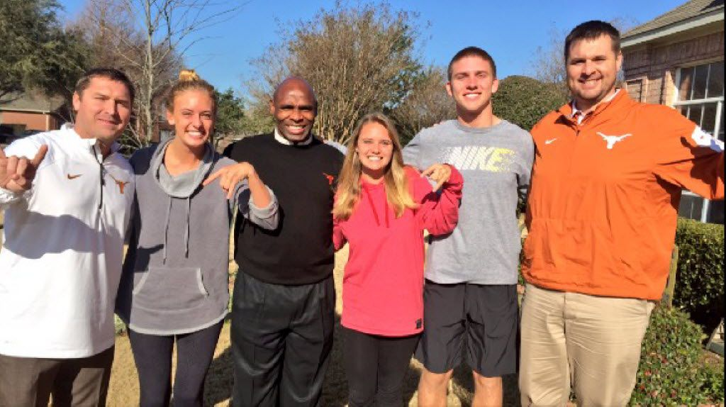 L-R UT offensive coordinator Sterlin Gilbert; Amber Buechele (Shane's sister, who currently attends OU); Charlie Strong; Jordan Buechele (Shane's other sister, who at the time was a senior at OU); Shane Buechele; UT offensive line coach Matt Mattox.