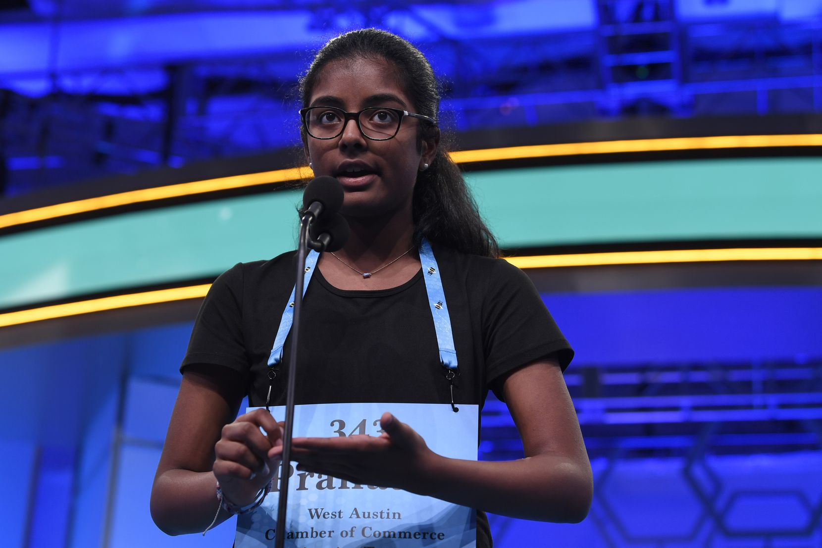Pranathi Jammula, 13, of Austin, Texas, competes in the second round of the Scripps National Spelling Bee in Oxon Hill, Md., Tuesday, May 28, 2019.