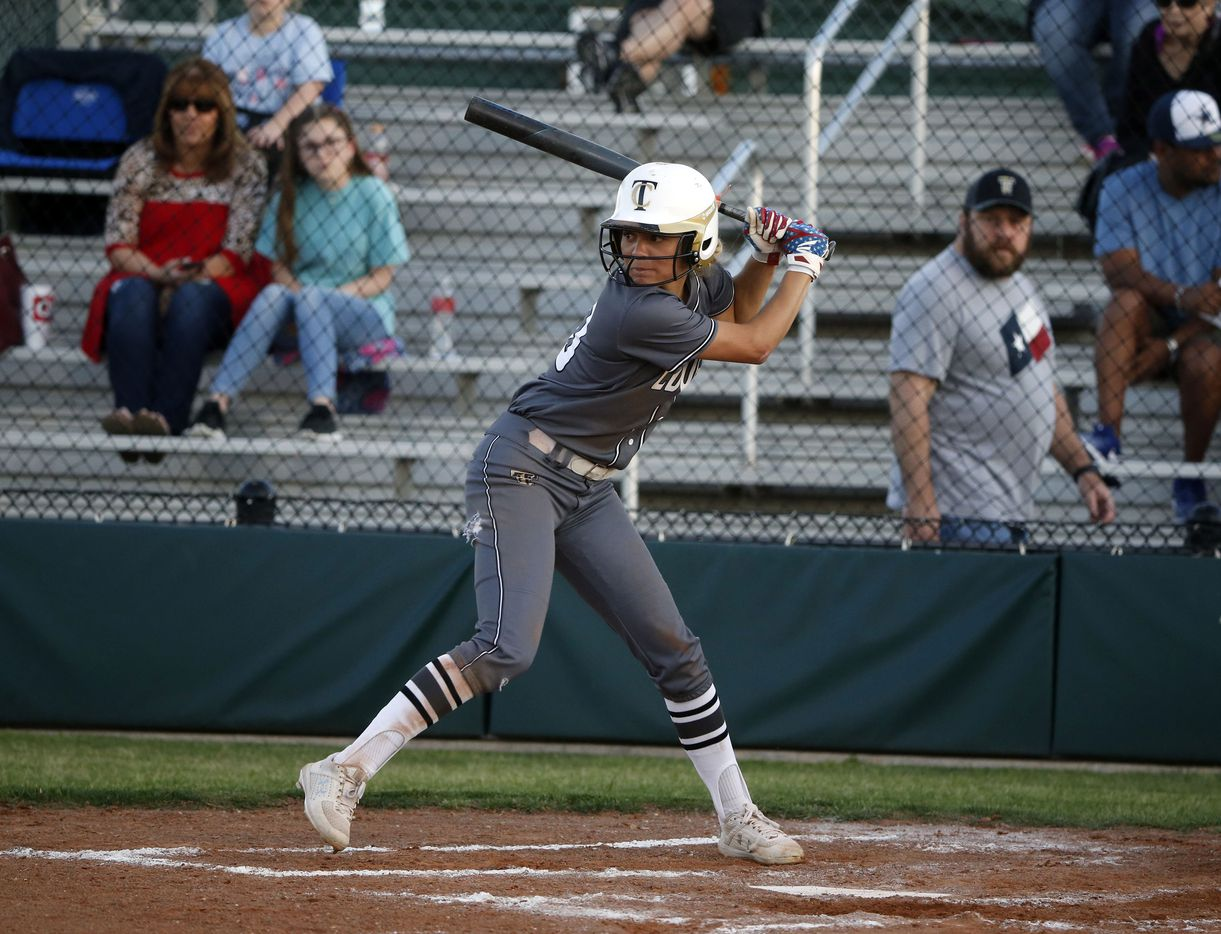 The Colony's Jayda Coleman bats against Birdville during game 2 of the Class 5A   Bi-District girls softball playoffs on April 26, 2019. (Michael Ainsworth/Special Contributor)