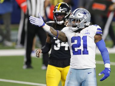Dallas Cowboys running back Ezekiel Elliott (21) signals the first down after a run play during the fourth quarter of play at AT&T Stadium in Arlington, Texas on Sunday, November 8, 2020. Dallas Cowboys lost to the Pittsburgh Steelers 24-19.