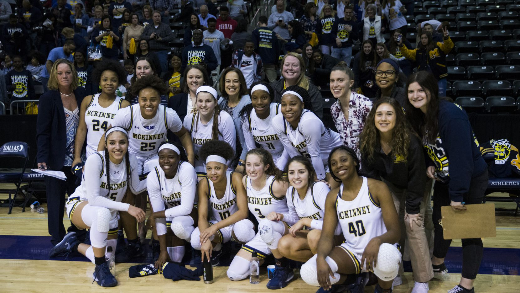 McKinney poses for a photo after a 66-53 win in a UIL 6A Region II semifinal girls basketball game between McKinney and Pflugerville Hendrickson on Friday, February 28, 2020 at Ellis Davis Field House in Dallas.