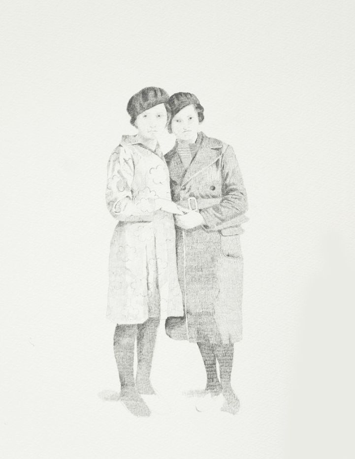 Romanian series, Two women, 2017 by Sarah Ball; graphite drawing on paper
