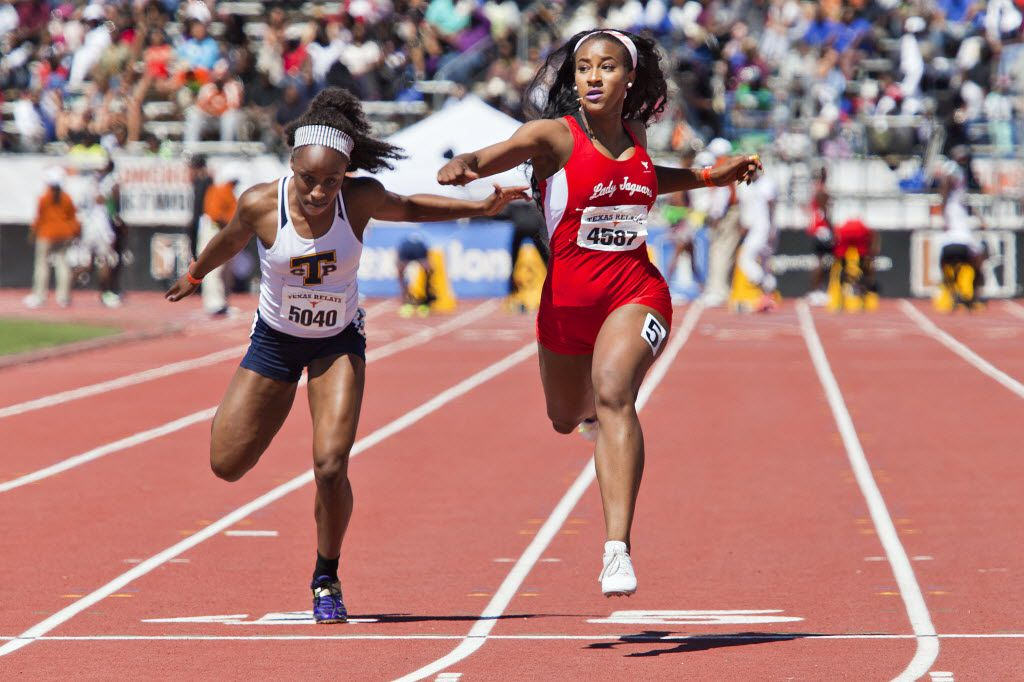 Stony Point's Sydney Washington competes with Mesquite Horn's Kaylor Harris during their Division 2 of the Girls 100 meter dash at the Texas Relays at the Mike A. Myers Stadium in Austin, Texas on April 2, 2016. (Thao Nguyen/Special Contributor)
