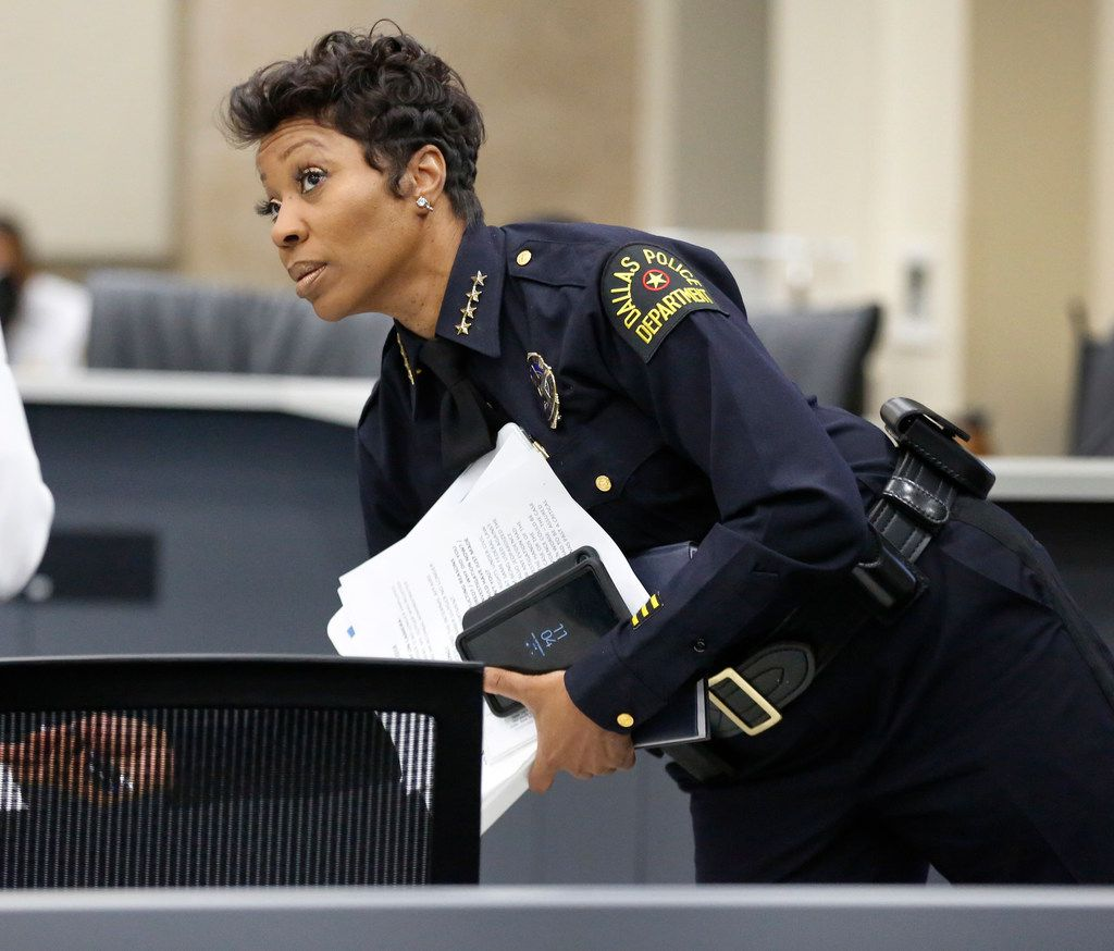 File photo of Dallas Police Chief U. Renee Hall at a September Public Safety committee meeting at City Hall.