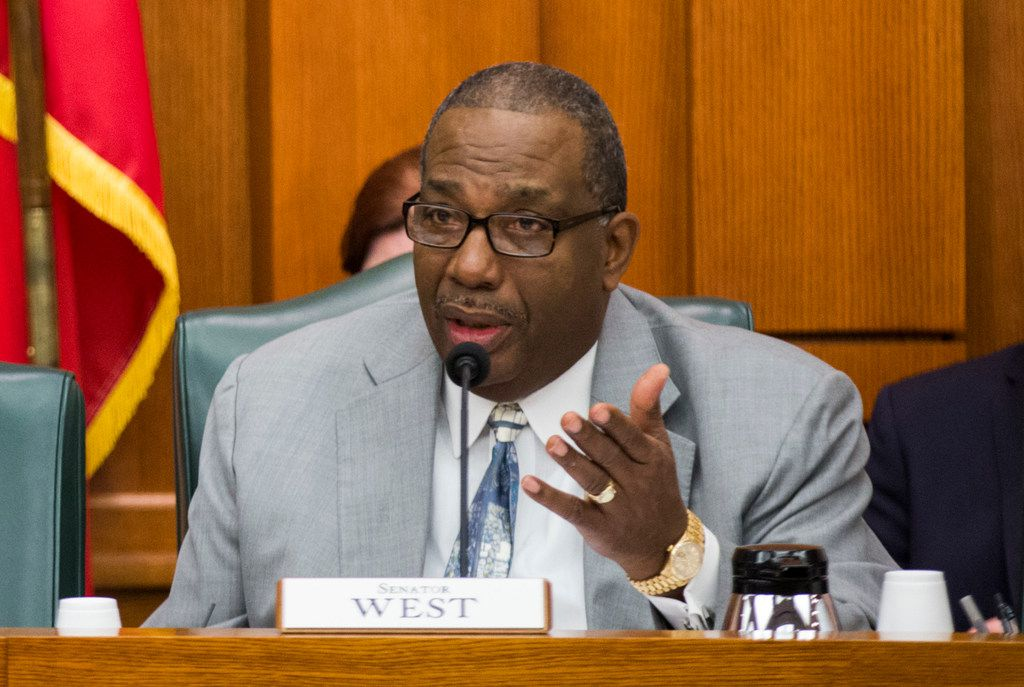Senator Royce West of Dallas discusses SB3, which would give teachers a $5,000 pay raise next year, on Monday, at a senate committee hearing on February 25, 2019 at the Texas state capitol extension in Austin. (Ashley Landis/The Dallas Morning News)