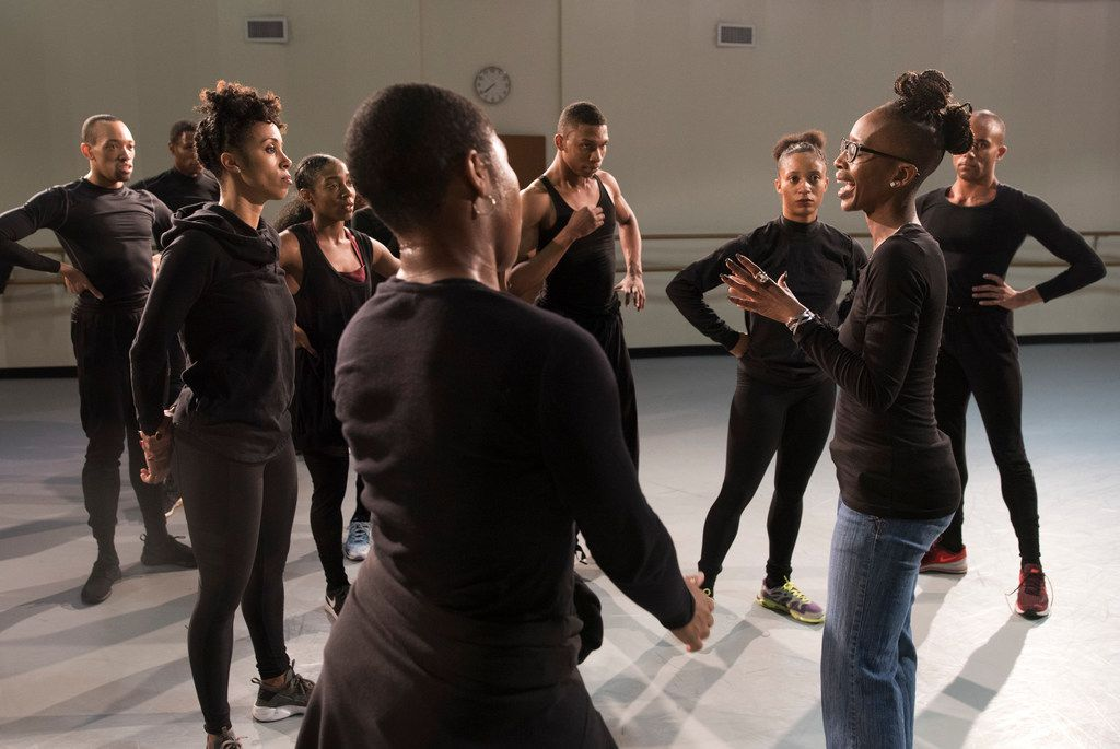 Michelle N. Gibson talks to members of Dallas Black Dance Theatre as they rehearse Displaced, Yet Rebirthed on Tuesday, Feb. 6, 2018.