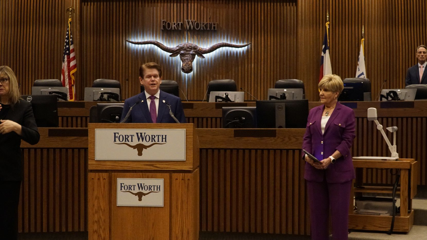 Arlington Mayor Jeff Williams asked the residents of his city to stay at home during a news conference at City Hall in Fort Worth, TX on Tuesday, March 24, 2020.