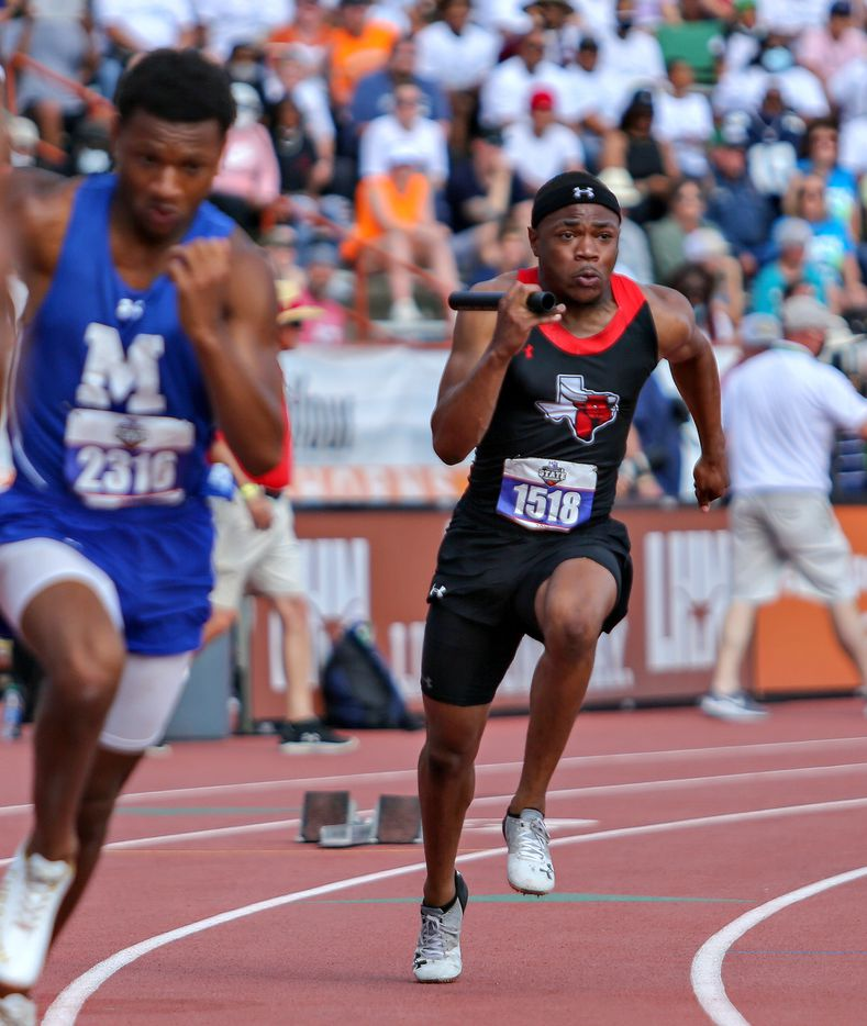 Kaleb Green of Cedar Hill competes in the 6A Boys 4x100 meter relay during the UIL state track meet at the Mike A. Myers Stadium, at the University of Texas on May 8, 2021 in Austin, Texas.