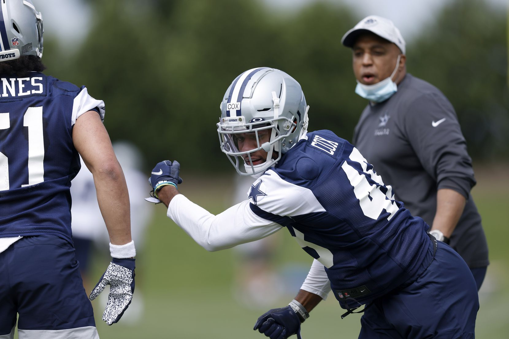 Dallas Cowboys rookie linebacker Jabril Cox (48) runs through drills at rookie minicamp at the The Star in Frisco, Texas, Friday, May 14, 2021. (Tom Fox/The Dallas Morning News)