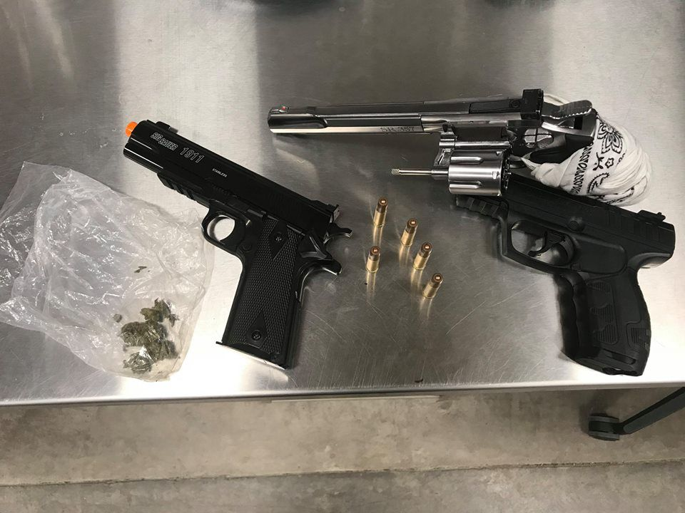 The BB guns and marijuana that was confiscated from three teenagers by Grapevine police.