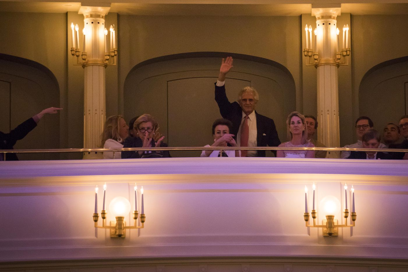 Former jury chairman John Giordano waves from the balcony during the Van Cliburn International Piano Competition awards ceremony at the Bass Performance Hall in Fort Worth on Saturday, June 10, 2017. (Smiley N. Pool/The Dallas Morning News)