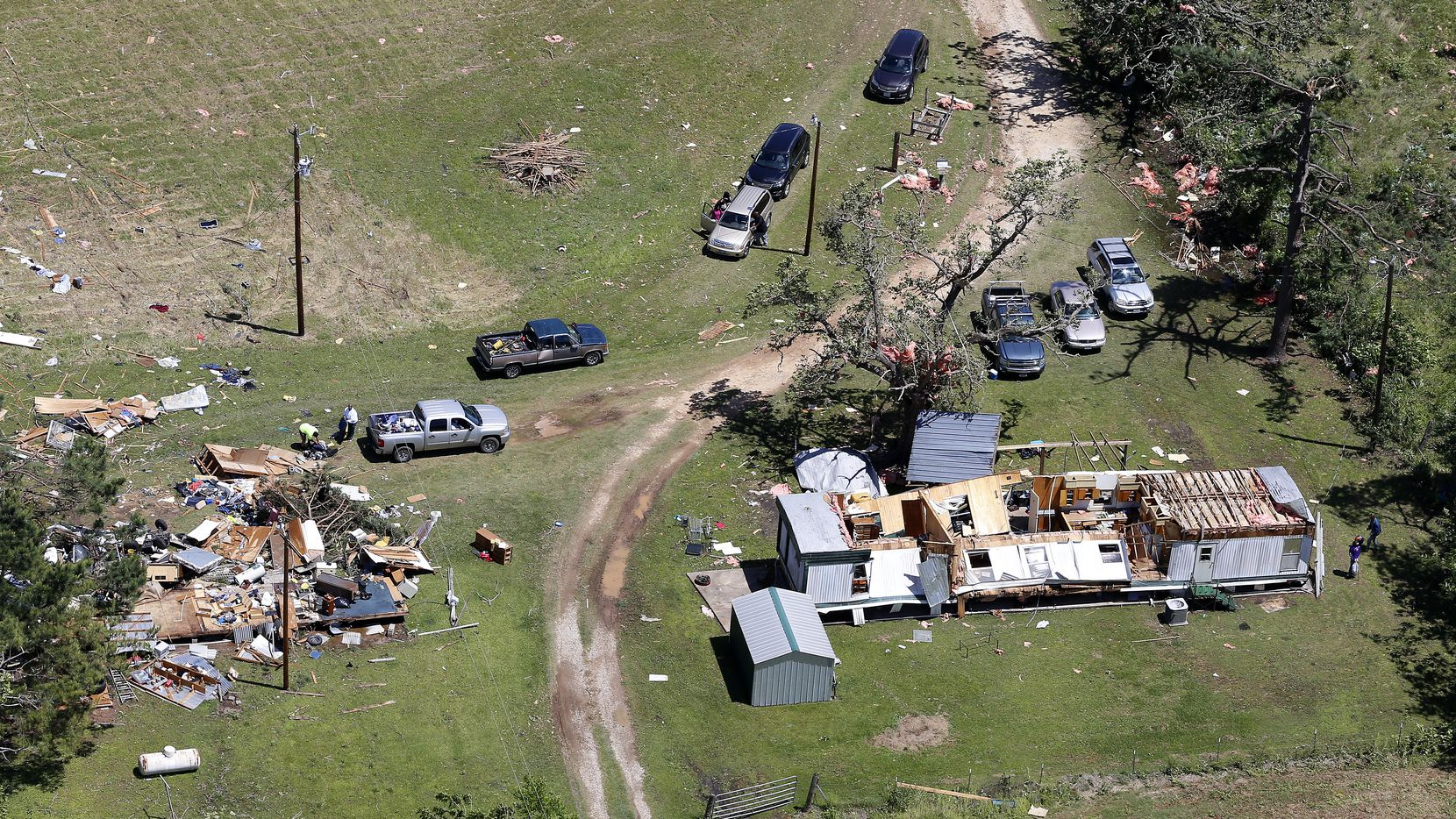 Two trailer homes in Eustace, Texas, were damaged by a tornado Saturday. (Jae S. Lee/Staff Photographer)