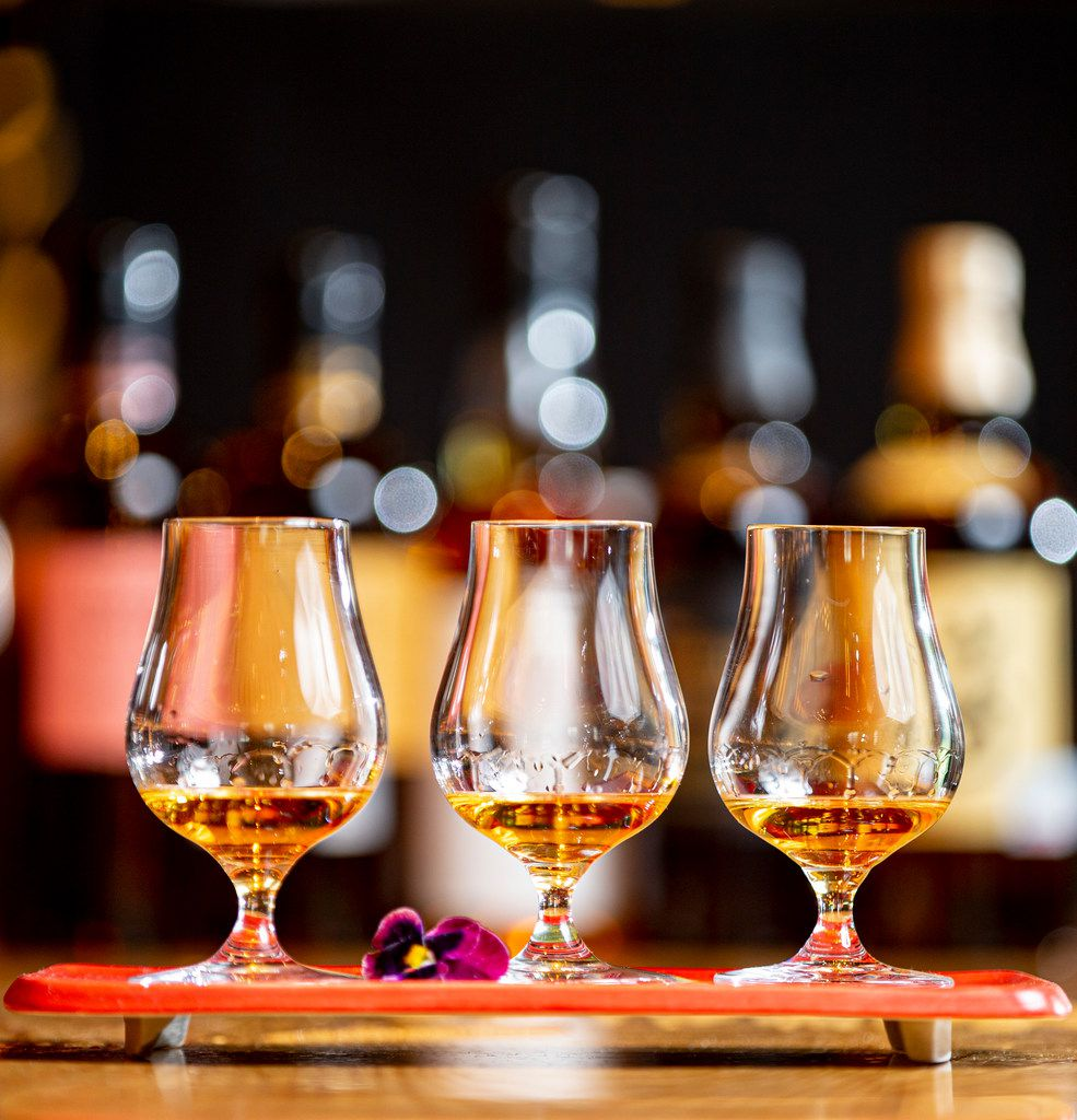 Three flights of Nikka Coffey Grain whisky at Nobu in the Crescent Hotel in Dallas