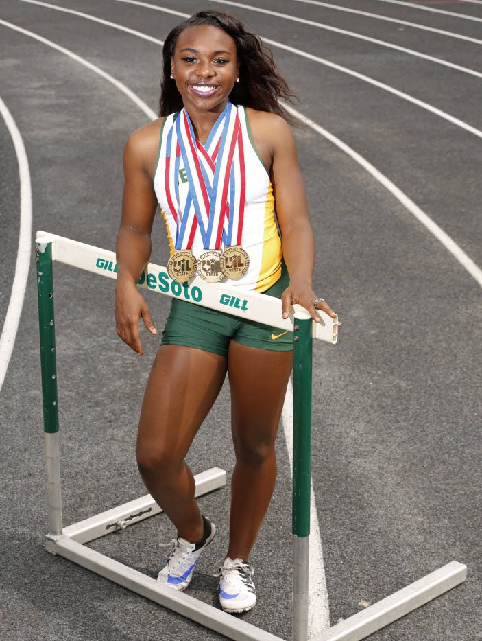 All area track star Alexis Duncan at DeSoto High School in DeSoto, Texas May 25, 2016.  (Nathan Hunsinger/The Dallas Morning News)