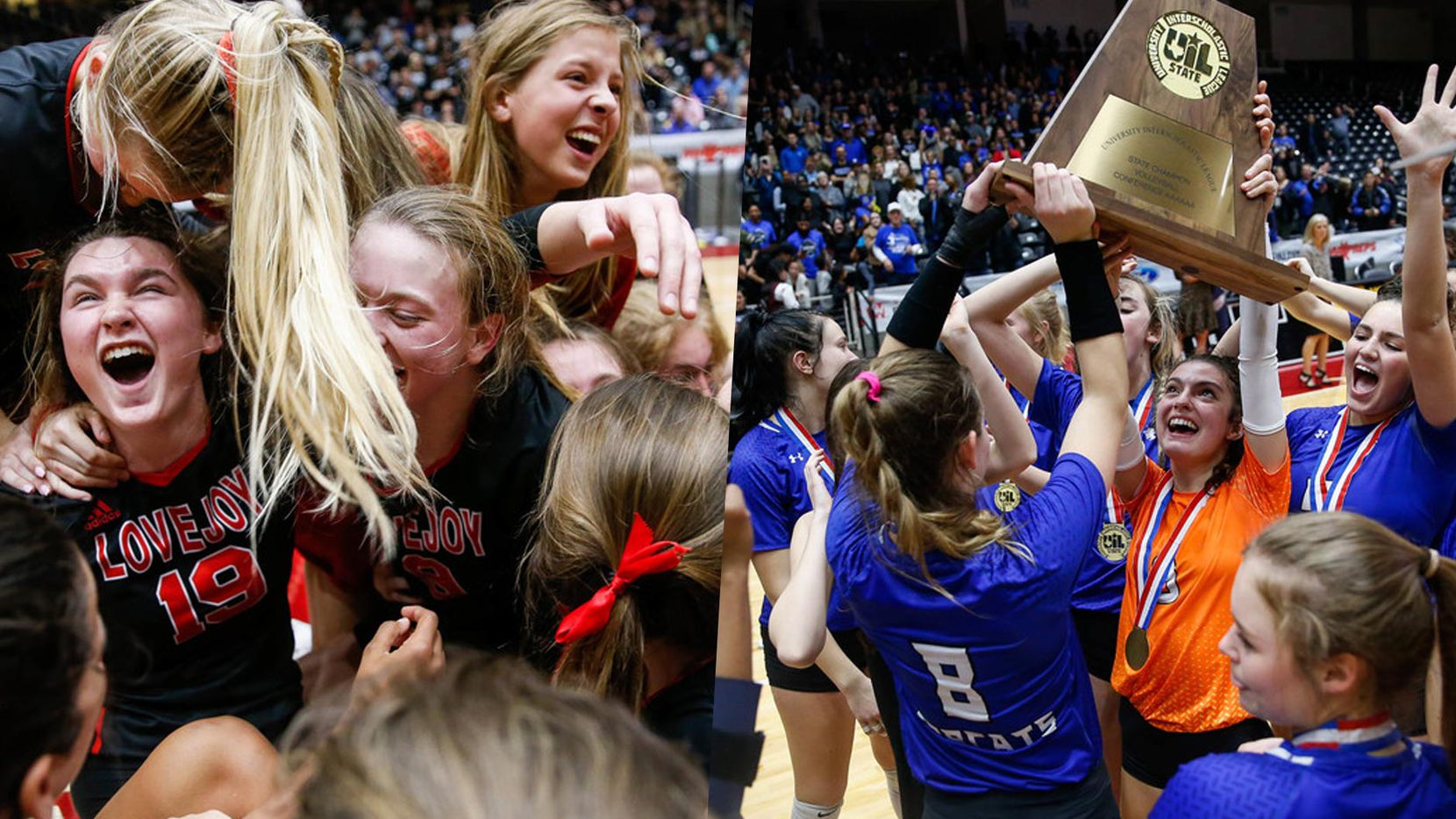 The volleyball teams for Lovejoy (left) and Trophy Club Byron Nelson.