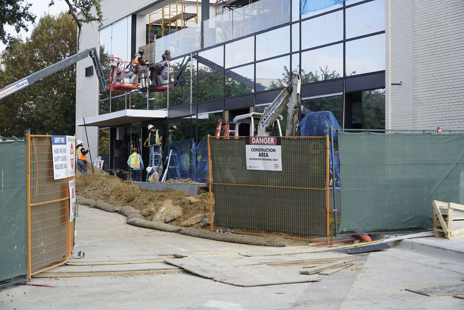 Work is being completed on the Eataly entrance from the Boedeker Street side of NorthPark Center in Dallas.