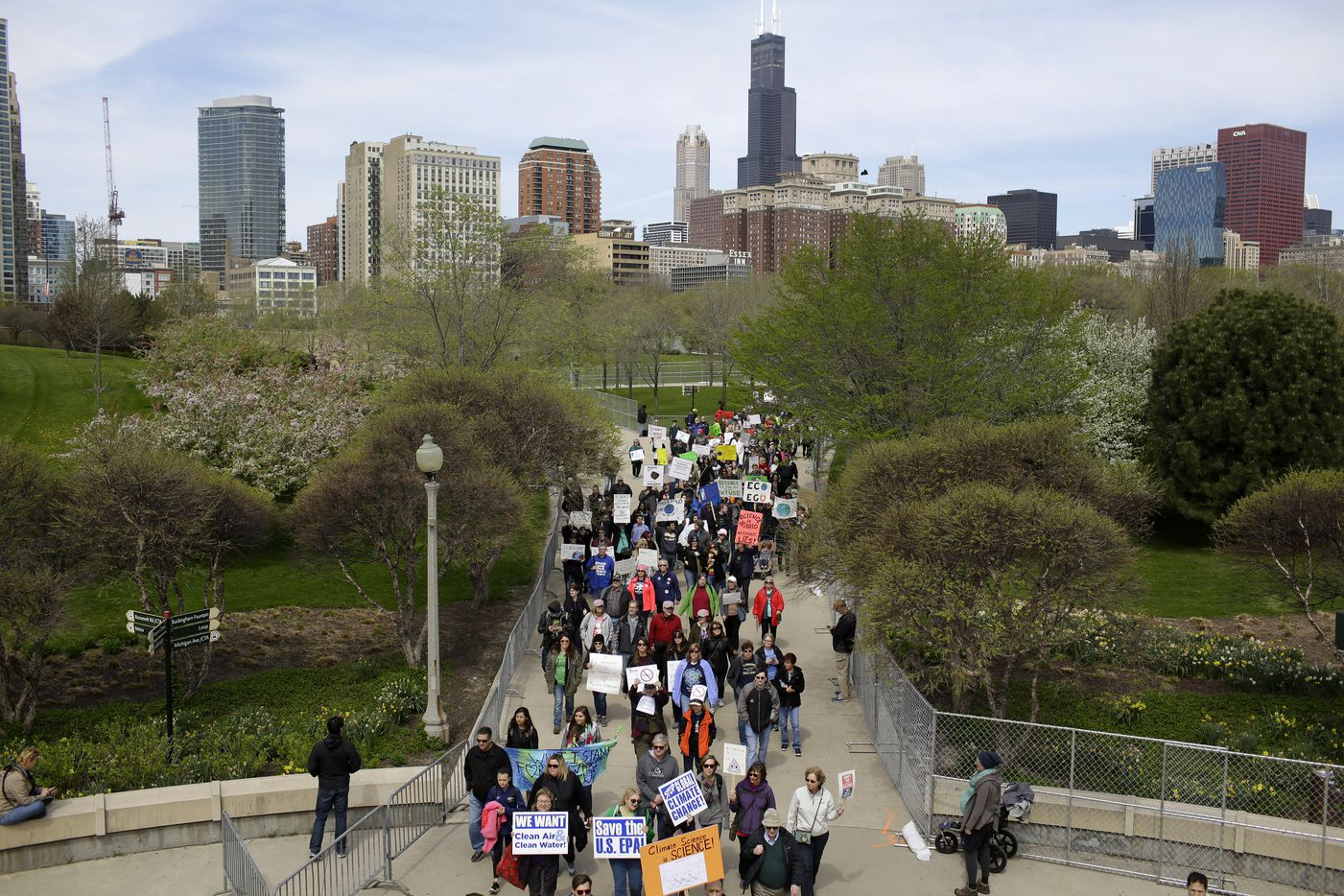 Demonstrators attend the March for Science in Chicago, April 22, 2017. Thousands of scientists and science advocates demonstrated in Washington and in smaller events around the world to support, defend and celebrate the scientific enterprise. (Joshua Lott/The New York Times)