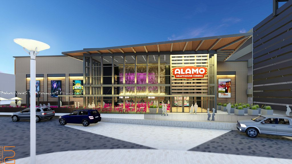 An external rendering of the upcoming Alamo Drafthouse in Frisco.